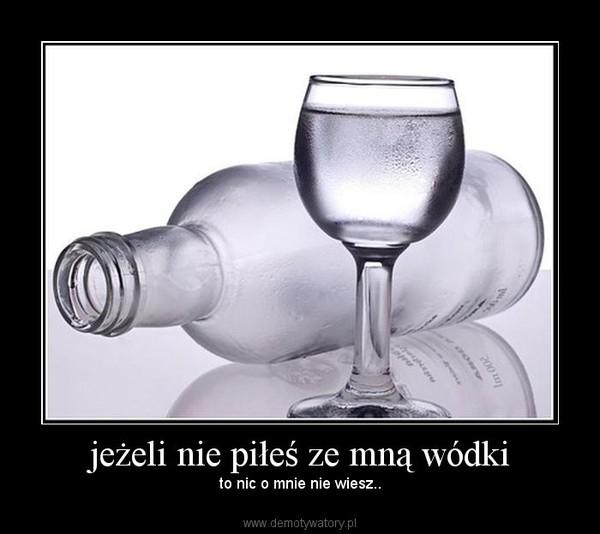 jeżeli nie piłeś ze mną wódki – to nic o mnie nie wiesz..