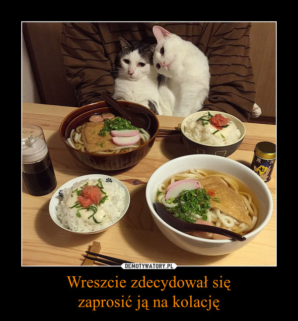 Wreszcie zdecydował sięzaprosić ją na kolację –