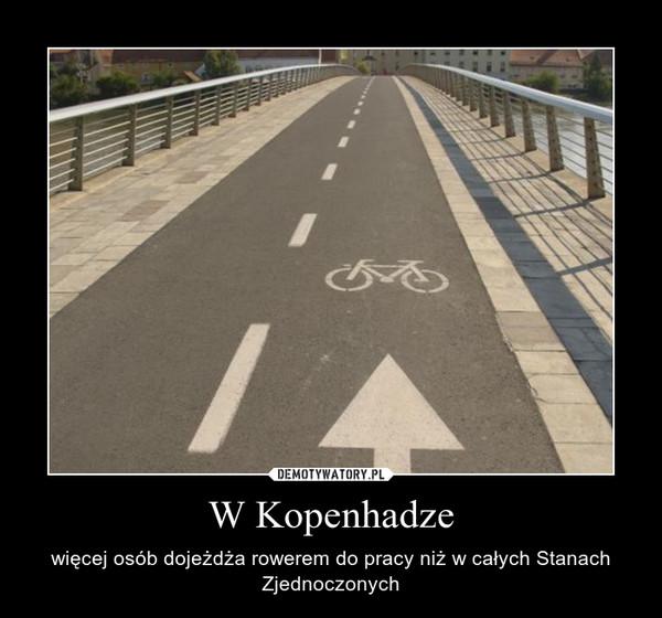 W Kopenhadze – więcej osób dojeżdża rowerem do pracy niż w całych Stanach Zjednoczonych