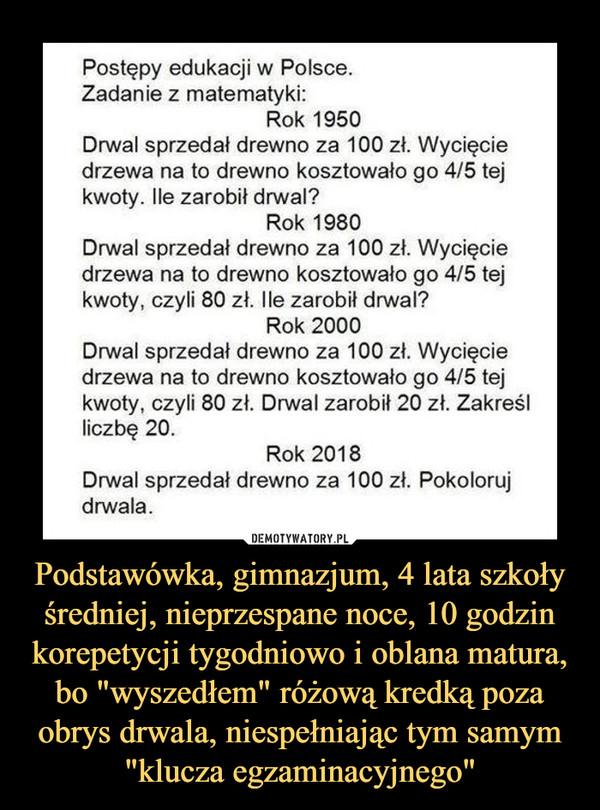 """Podstawówka, gimnazjum, 4 lata szkoły średniej, nieprzespane noce, 10 godzin korepetycji tygodniowo i oblana matura, bo """"wyszedłem"""" różową kredką poza obrys drwala, niespełniając tym samym """"klucza egzaminacyjnego"""" –  Postępy edukacji w Polsce. Zadanie z matematyki: Rok 1950 Drwal sprzedał drewno za 100 zł. Wycięcie drzewa na to drewno kosztowało go 4/5 tej kwoty. Ile zarobił drwal? Rok 1980 Drwal sprzedał drewno za 100 zł. Wycięcie drzewa na to drewno kosztowało go 4/5 tej kwoty, czyli 80 zł. Ile zarobił drwal? Rok 2000 Drwal sprzedał drewno za 100 zł. Wycięcie drzewa na to drewno kosztowało go 4/5 tej kwoty, czyli 80 zł. Drwal zarobił 20 zł. Zakreśl liczbę 20. Rok 2018 Drwal sprzedał drewno za 100 zł. Pokoloruj drwala."""