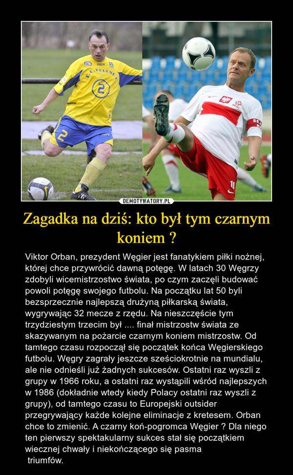 Zagadka na dziś: kto był tym czarnym koniem ? – Viktor Orban, prezydent Węgier jest fanatykiem piłki nożnej, której chce przywrócić dawną potęgę. W latach 30 Węgrzy zdobyli wicemistrzostwo świata, po czym zaczęli budować powoli potęgę swojego futbolu. Na początku lat 50 byli bezsprzecznie najlepszą drużyną piłkarską świata, wygrywając 32 mecze z rzędu. Na nieszczęście tym trzydziestym trzecim był .... finał mistrzostw świata ze skazywanym na pożarcie czarnym koniem mistrzostw. Od tamtego czasu rozpoczął się początek końca Węgierskiego futbolu. Węgry zagrały jeszcze sześciokrotnie na mundialu, ale nie odnieśli już żadnych sukcesów. Ostatni raz wyszli z grupy w 1966 roku, a ostatni raz wystąpili wśród najlepszych w 1986 (dokładnie wtedy kiedy Polacy ostatni raz wyszli z grupy), od tamtego czasu to Europejski outsider przegrywający każde kolejne eliminacje z kretesem. Orban chce to zmienić. A czarny koń-pogromca Węgier ? Dla niego ten pierwszy spektakularny sukces stał się początkiem wiecznej chwały i niekończącego się pasma triumfów.