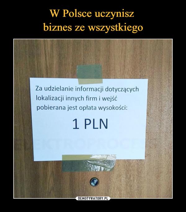 –  Za udzielanie informacji dotyczącychlokalizacji innych firm i wejśćpobierana jest opłata wysokości:1 PLN