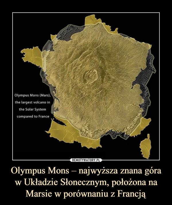 Olympus Mons – najwyższa znana góra w Układzie Słonecznym, położona na Marsie w porównaniu z Francją –