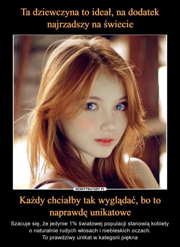 Każdy chciałby tak wyglądać, bo to naprawdę unikatowe – Szacuje się, że jedynie 1% światowej populacji stanowią kobietyo naturalnie rudych włosach i niebieskich oczach.To prawdziwy unikat w kategorii piękna