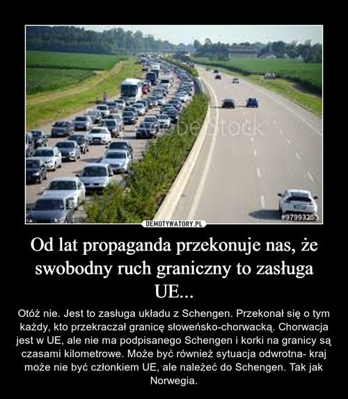 Od lat propaganda przekonuje nas, że swobodny ruch graniczny to zasługa UE...