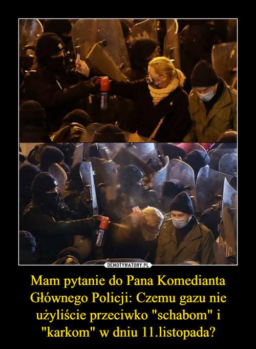 """Mam pytanie do Pana Komedianta Głównego Policji: Czemu gazu nie użyliście przeciwko """"schabom"""" i """"karkom"""" w dniu 11.listopada?"""