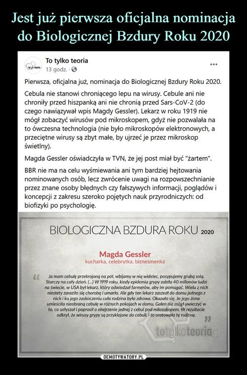 Jest już pierwsza oficjalna nominacja do Biologicznej Bzdury Roku 2020