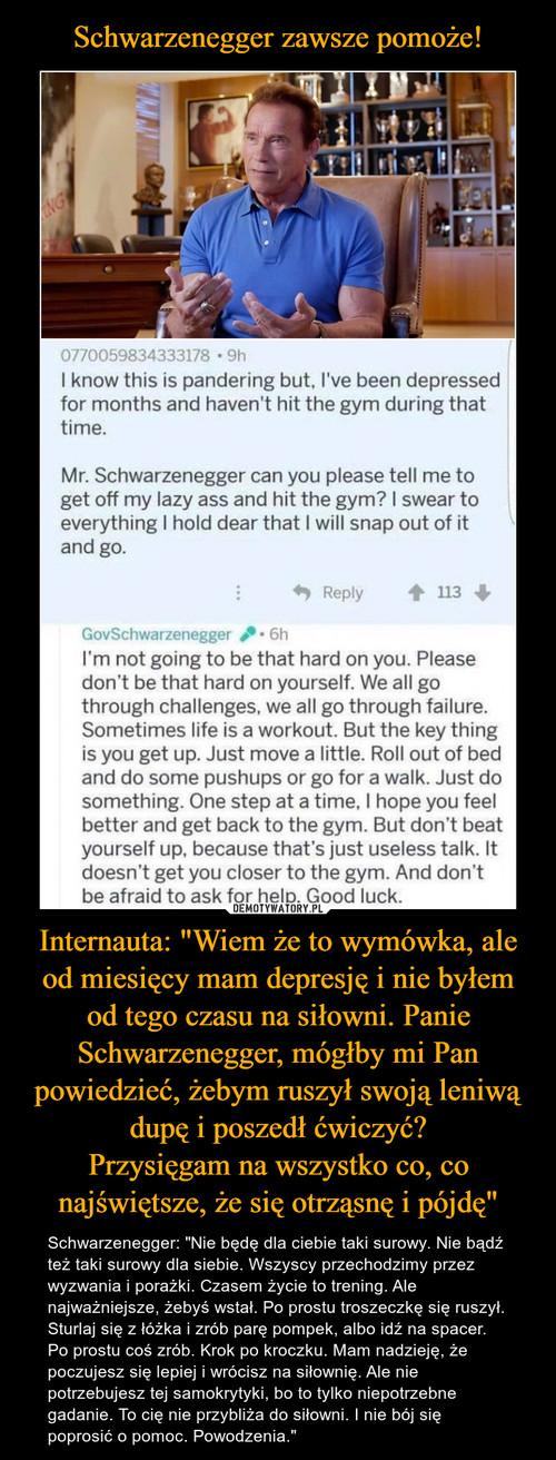 """Schwarzenegger zawsze pomoże! Internauta: """"Wiem że to wymówka, ale od miesięcy mam depresję i nie byłem od tego czasu na siłowni. Panie Schwarzenegger, mógłby mi Pan powiedzieć, żebym ruszył swoją leniwą dupę i poszedł ćwiczyć? Przysięgam na wszystko co, co najświętsze, że się otrząsnę i pójdę"""""""