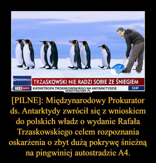 [PILNE]: Międzynarodowy Prokurator ds. Antarktydy zwrócił się z wnioskiem do polskich władz o wydanie Rafała Trzaskowskiego celem rozpoznania oskarżenia o zbyt dużą pokrywę śnieżną na pingwiniej autostradzie A4.
