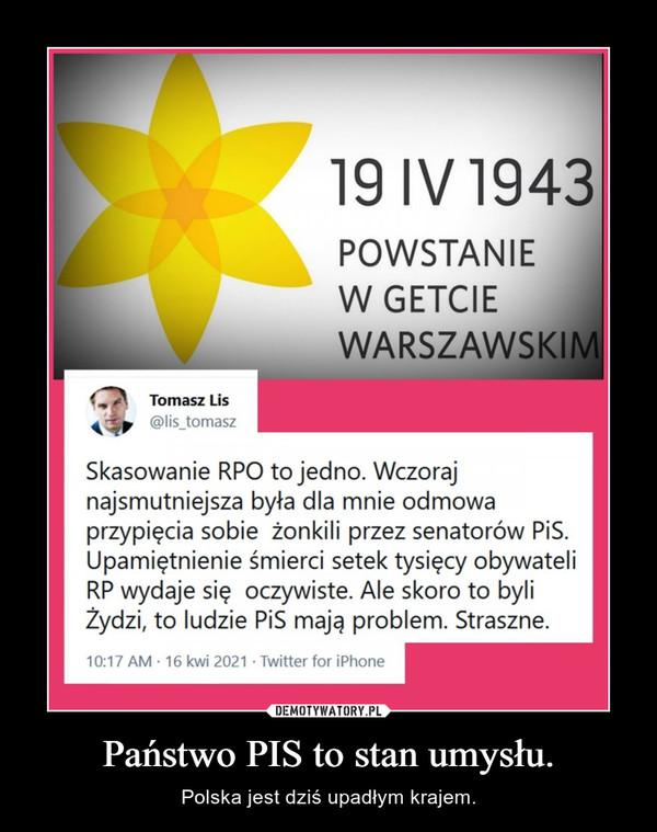 Państwo PIS to stan umysłu. – Polska jest dziś upadłym krajem.