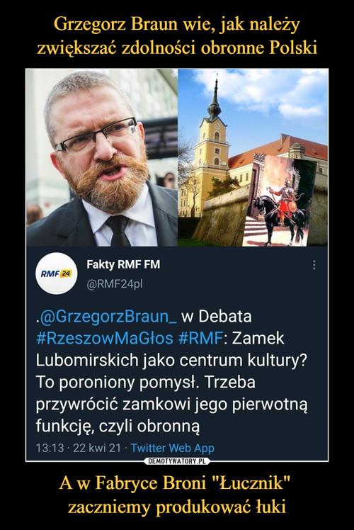"""Grzegorz Braun wie, jak należy zwiększać zdolności obronne Polski A w Fabryce Broni """"Łucznik""""  zaczniemy produkować łuki"""