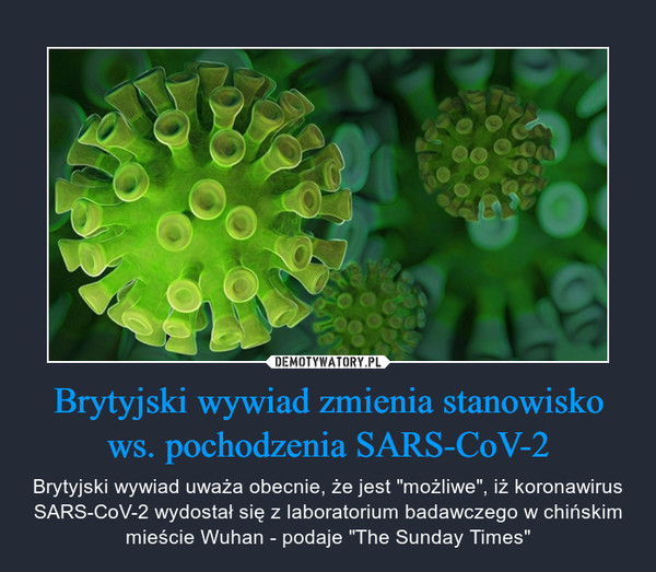 """Brytyjski wywiad zmienia stanowisko ws. pochodzenia SARS-CoV-2 – Brytyjski wywiad uważa obecnie, że jest """"możliwe"""", iż koronawirus SARS-CoV-2 wydostał się z laboratorium badawczego w chińskim mieście Wuhan - podaje """"The Sunday Times"""""""