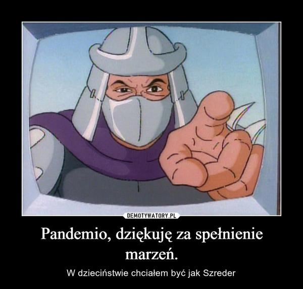 Pandemio, dziękuję za spełnienie marzeń. – W dzieciństwie chciałem być jak Szreder
