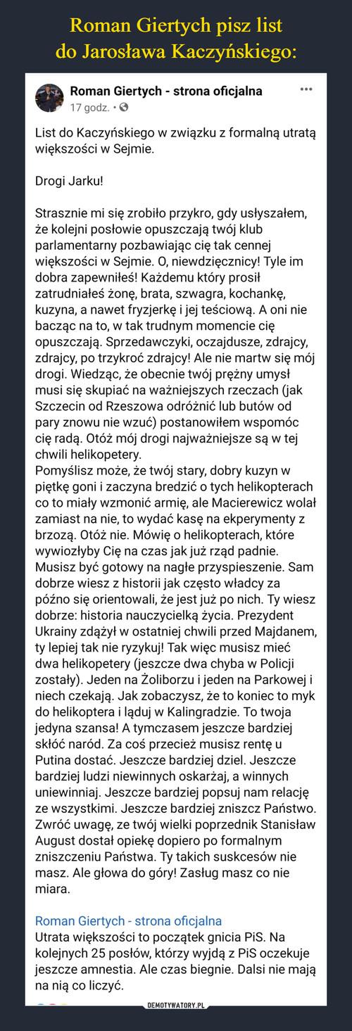 Roman Giertych pisz list do Jarosława Kaczyńskiego: