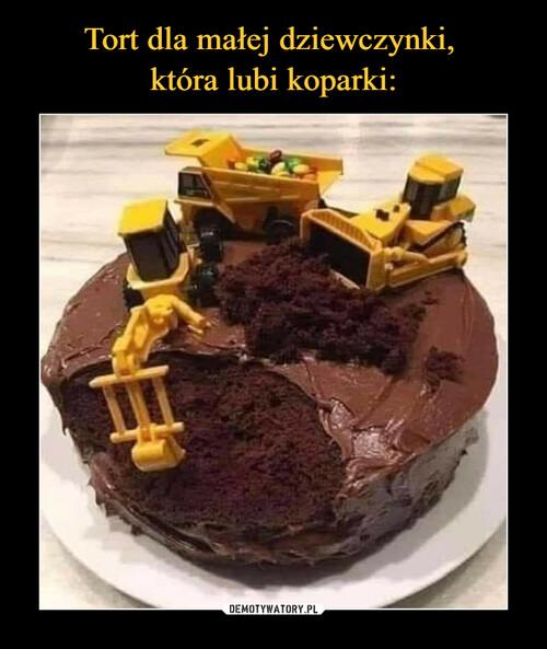Tort dla małej dziewczynki,  która lubi koparki: