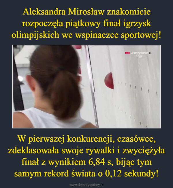 W pierwszej konkurencji, czasówce, zdeklasowała swoje rywalki i zwyciężyła finał z wynikiem 6,84 s, bijąc tym samym rekord świata o 0,12 sekundy! –