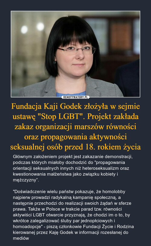 """Fundacja Kaji Godek złożyła w sejmie ustawę """"Stop LGBT"""". Projekt zakłada zakaz organizacji marszów równości oraz propagowania aktywności seksualnej osób przed 18. rokiem życia"""