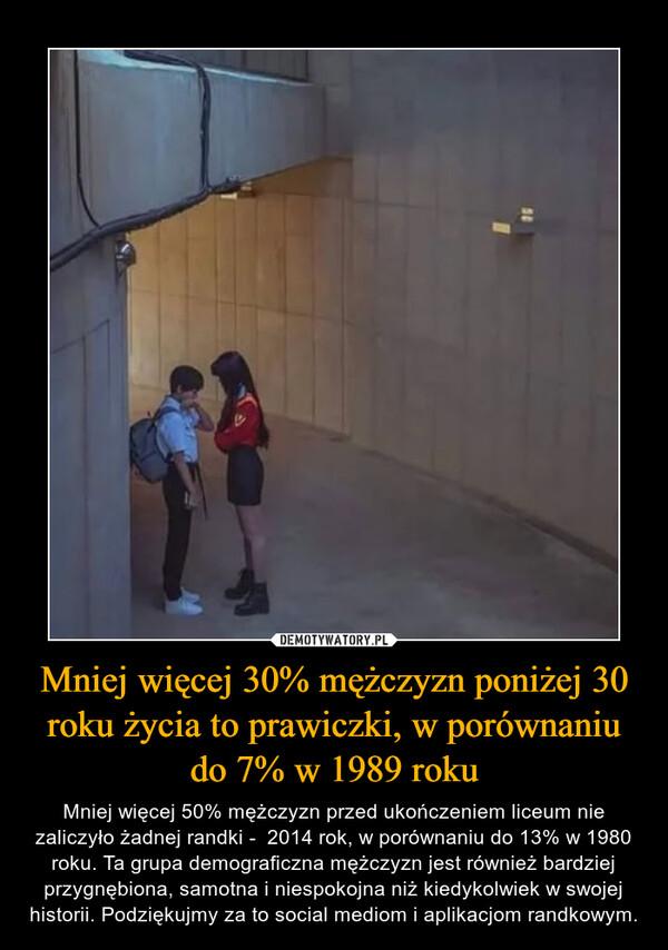 Mniej więcej 30% mężczyzn poniżej 30 roku życia to prawiczki, w porównaniu do 7% w 1989 roku – Mniej więcej 50% mężczyzn przed ukończeniem liceum nie zaliczyło żadnej randki -  2014 rok, w porównaniu do 13% w 1980 roku. Ta grupa demograficzna mężczyzn jest również bardziej przygnębiona, samotna i niespokojna niż kiedykolwiek w swojej historii. Podziękujmy za to social mediom i aplikacjom randkowym.