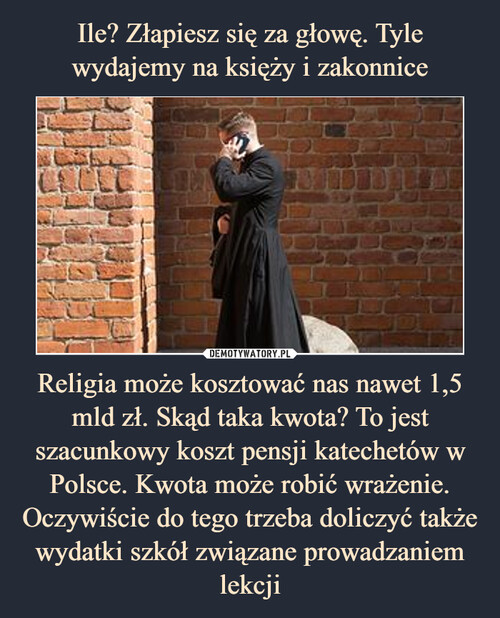 Ile? Złapiesz się za głowę. Tyle wydajemy na księży i zakonnice Religia może kosztować nas nawet 1,5 mld zł. Skąd taka kwota? To jest szacunkowy koszt pensji katechetów w Polsce. Kwota może robić wrażenie. Oczywiście do tego trzeba doliczyć także wydatki szkół związane prowadzaniem lekcji
