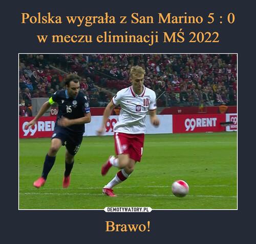 Polska wygrała z San Marino 5 : 0 w meczu eliminacji MŚ 2022 Brawo!