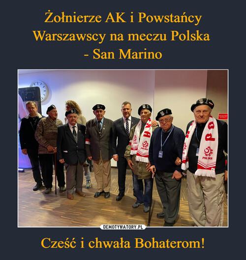 Żołnierze AK i Powstańcy Warszawscy na meczu Polska  - San Marino Cześć i chwała Bohaterom!