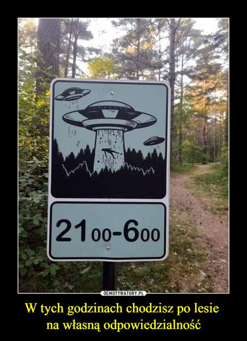 W tych godzinach chodzisz po lesie  na własną odpowiedzialność