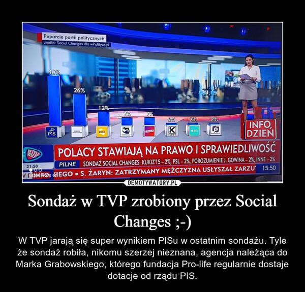Sondaż w TVP zrobiony przez Social Changes ;-) – W TVP jarają się super wynikiem PISu w ostatnim sondażu. Tyle że sondaż robiła, nikomu szerzej nieznana, agencja należąca do Marka Grabowskiego, którego fundacja Pro-life regularnie dostaje dotacje od rządu PIS.