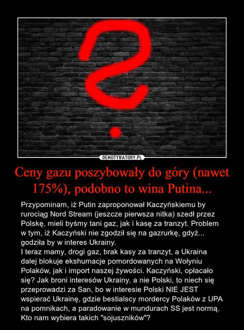 Ceny gazu poszybowały do góry (nawet 175%), podobno to wina Putina...